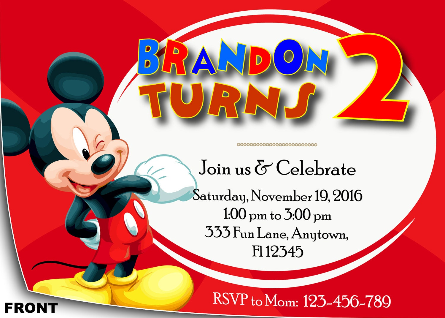 Mickey Mouse Invitation | Mickey Mouse Birthday Invitation | Mickey ...