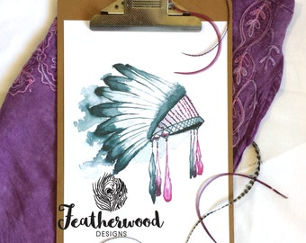 Pink Feather Headdress Art Print - Tribal Collection