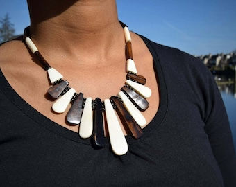 Tribal Bone Necklace | ethnic jewelry | batik bone, beads & wire closure | handmade by Maasai women in Kenya, Africa