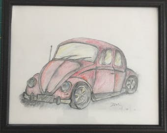Red Volkswagen Beetle (Colored pencil) Framed