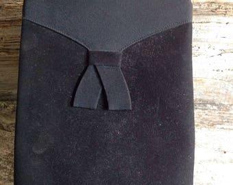 Vintage Black Suede Top Handle - Tall Bag vintage/black/suede/party/special occasion/top handle