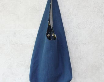 Linen blue hobo bag, hobo bag, linen hobo bag, linen travel bag, linen tote bag