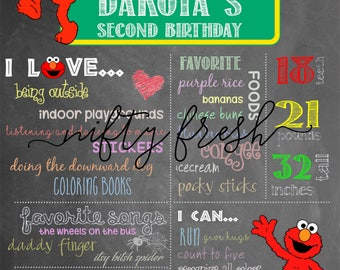 Elmo Sesame Street Birthday Chalkboard Poster