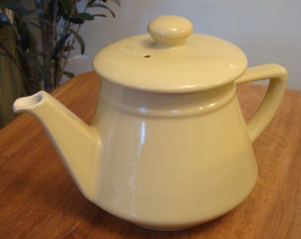 Vintage French china, porcelain cream-coloured teapot
