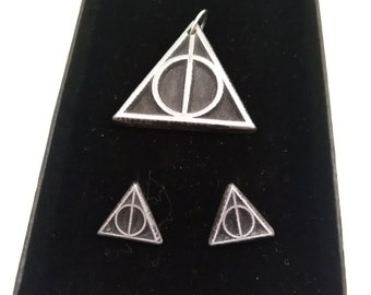 Deathly Hallows inspired pendant and earrings set