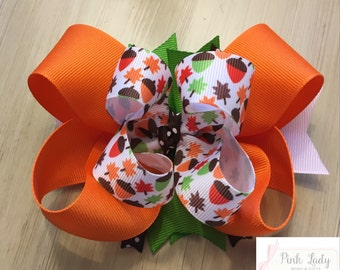 Fall Bow, Thanksgiving Bow, Boutique Bow, Leaves and Acorns