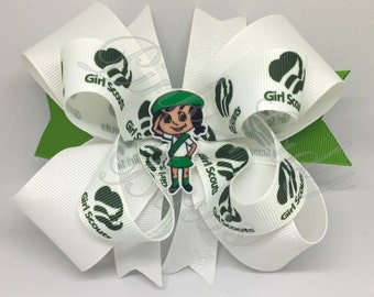"Girl Scout Bow, Girl Scouts, Brownies Bow, Cookie Bow, Girl Scouts Uniform, Pinwheel Bow, 4"" Hair Bow, Girl Scouts Theme, Stacked Bow"