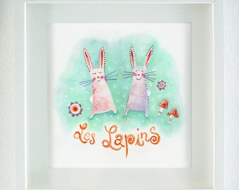 Les Lapins Original Watercolor + Gouache Painting Nursery Art