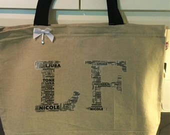 EmsiLou INITIAL Typography Luxury Bag (personalised)