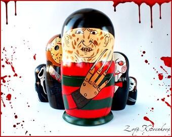 Nesting doll Horror Movie Villains Geek Gift Matryoshka 5pcs Freddy Krueger Jason Voorhees Scream  Michael Myers Saw/Матрешка
