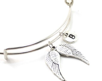 ANGEL WING charm bangle, personalized charm bangle, initial bangle, wing bracelet, personalized bracelet, charm bracelet, initial jewelry