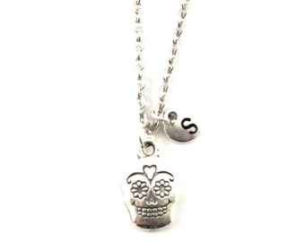 SUGAR SKULL charm necklace, personalized charm necklace, initial necklace, personalized jewelry, charm neckalce, initial jewelry, monogram