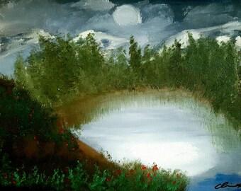 "Oil painting landscape print 8.5""x11"" -Werewolf Lake-"