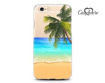 Clear iPhone case, Clear Galaxy S8 Plus case, iPhone 6 case, iPhone 6s case, iPhone 7 case, iPhone 7 Plus case, S8 case, Tropical Beach