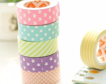 Yellow & white horizontal stripes - Washi Masking Tape