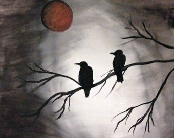 Crows Under a Red Moon