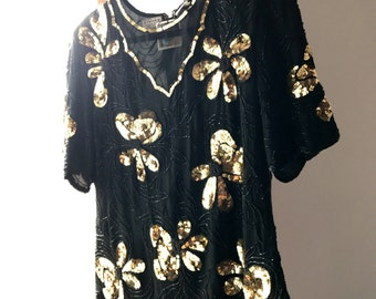 80s Black and Gold Flower Sequin Blouse