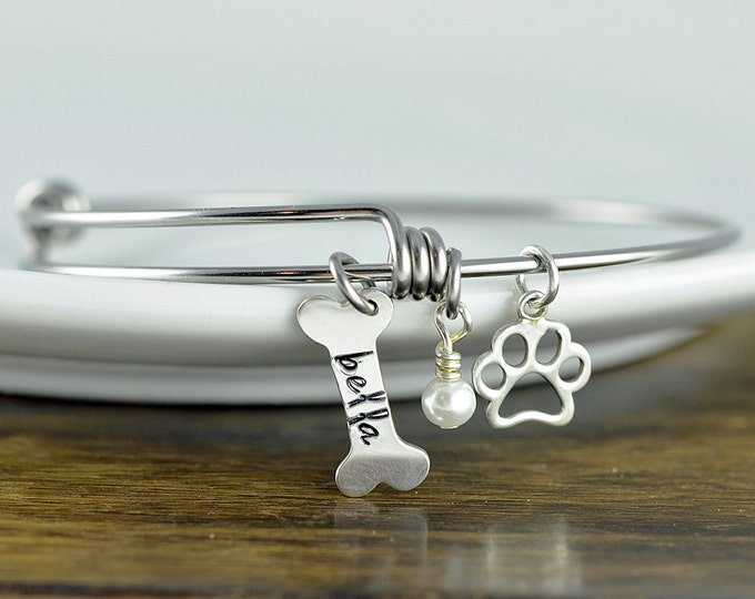 Silver Dog Bone Bracelet - Personalized Dog Bracelet - Dog Paw Bracelet - Dog Lover Jewelry - Paw Print - Pet Memorial - Dog Bone Charm