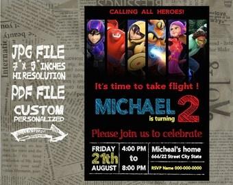 "Disney Big hero 6 Birthday Invitation card , size 5""x7"" inches Birthday Party, Invitation card"