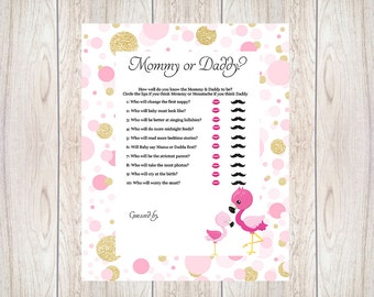 Baby Shower Game,Mommy Or Daddy,Flamingo,Printable,Download,Baby Shower