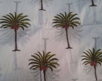 100% Cotton Voile Hand Block Print Palm Trees on White Fabric By The Meter
