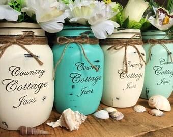 Large 4 piece Handpainted Rustic Distressed Mason Jar Vase Set