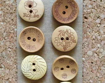 Natural Wood Thumb Tacks / Push Pins for Cork Board - FREE SHIPPING!