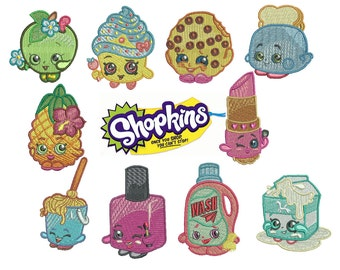 75% off on Shopkins embroidery design in the hoop resizable files - total 10 designs in the set.