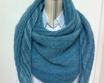 Color ocean mohair and silk shawl