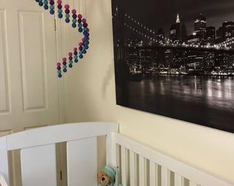 Girl Nursery Mobile - Baby Crib Mobile - Felt Baby Mobile - Cot Mobile - Nursery Decor - Spiral Pattern