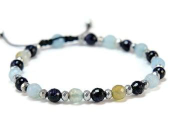 Aandaleeb * Agate, Sandstone and Hematite Boho Style Pull - Tie Bracelet
