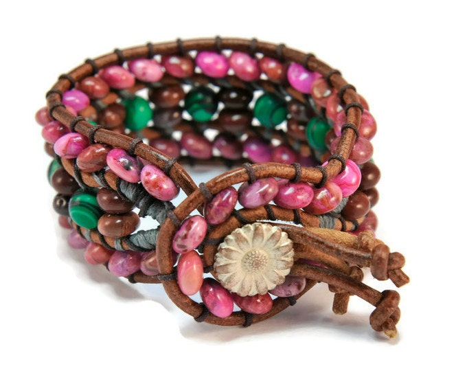 Anouk *  3 strand Wrap Bracelet. Boho Style. Bohemian Jewelry. Semiprecious stones. Gift for her. Cuff Bracelet.
