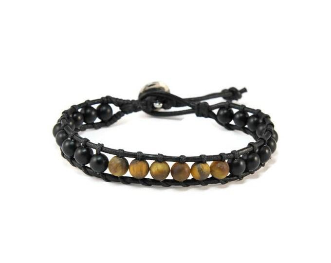 Wild Life * Men's Boho Style Leather Bracelet. Cuff Bracele. Boho Jewelry. Bohemian Jewelry. Ideas for him. Gift for him. Onyx. Tiger Eye