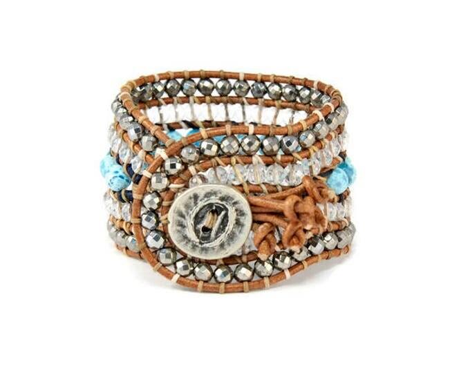 Boho Mogolian * 5 strand Statement Bracelet. Boho Style. Bohemian Jewelry. Semiprecious stones. Gift for her. Unique Design.