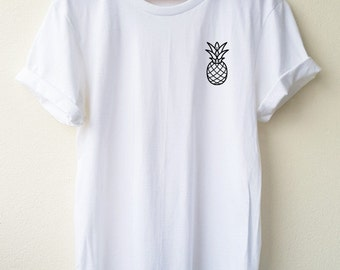 Pine Apple embroidery tshirt Fruid tshirt Minimal Tee unisex t-shirt size S to XL