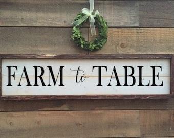 Farm to table sign, Farmer's Market Sign, vintage Home Decor