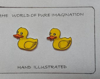 Duck.rubber duck earings.Hand ilustrated earings. sterling silver 925.stud earings.hand made.plastic .hand drawn.fair trade