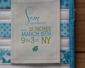 Boy's Birth Stats Quilt Label | Personalized Sewing Labels | Personalized Quilt Labels | Quilt Patch | Custom Fabric Labels | Blanket Label