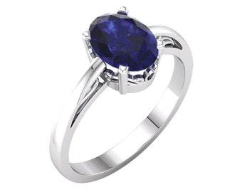 Blue Sapphire Ring Gold / 14K White Gold Sapphire Ring Vintage Style / Antique Style Sapphire Ring