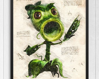 Plants vs Zombies print, Plants vs Zombies poster, Peashooter poster, Peashooter print, PVZ game poster, N.004