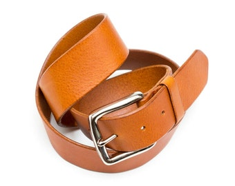 Leather belt - honey and Brown - 4 cm - length 95 cm