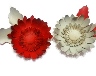Synthetic leather gerbera brooch