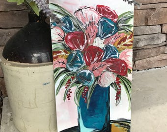 Custom Boho Flowers original 10x20 canvas panel painting