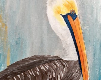 """Pelican Painting """"Perkins"""" 16x20 Original Cajun Hand Painted Art Acrylic on Canvas Ready to Hang"""