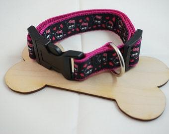 Dog collar collar rockabilly pink skulls skulls 38-59 cm
