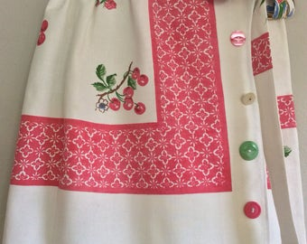"WOMEN'S WRAP SKIRT ""Fruit Basket""-Repurposed Vintage Tablecloth-Pink Yellow, Blue, Green Fruit, Basket. Vintage Buttons"