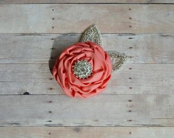 Coral Flower Hairclip, Flower Girl Hairclip, Wedding Clip, Bridal Hairclip, Rhinesyine Hairclip, Fascinator Bridesmaid Bridal Shower Baby