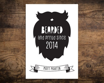 Personalised Bearded Man Cave Framed Print, Father's Day Print, Gift for Dad, Beard and Moustache, Gift for Him, Man Cave Wall Art