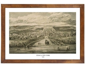 Ithaca, NY 1836; 24x36 inch print reproduced from a vintage painting or lithograph