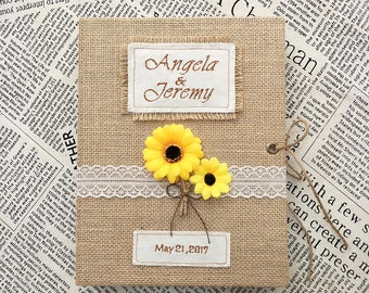Wedding Guest Book, Sunflower Wedding Guest Book,Custom Burlap Guest Book,Shabby Chic Guest Book with Sunflower.